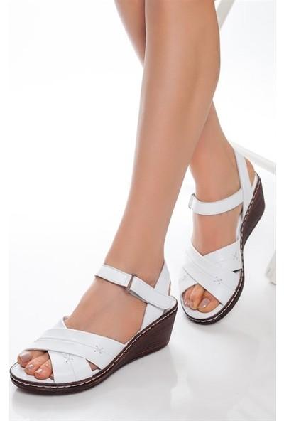 Tarçın Hakiki Deri Beyaz Comfort Kadın Dolgu Sandalet Trc67-0005