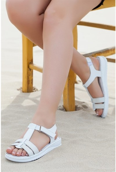 Tarçın Hakiki Deri Beyaz Comfort Kadın Sandalet Trc67-S010