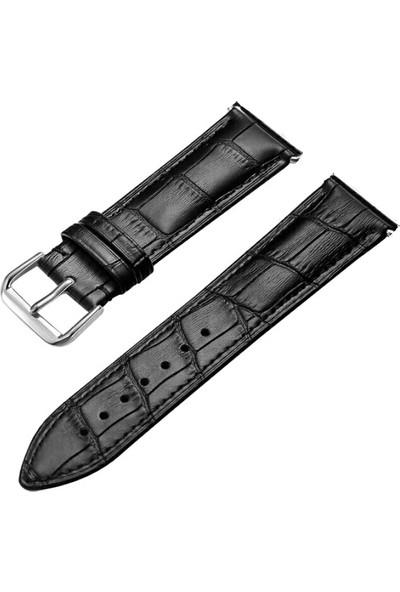 Erdem Saat Takı Hakiki Deri Siyah Saat Kordon Kayış Kordon 24 Mm