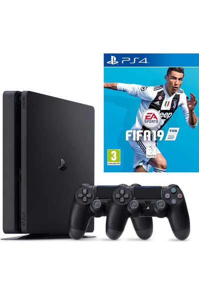 Sony Playstation 4 Slim 500 Gb Oyun Konsolu + 2. Kol + Fifa 19