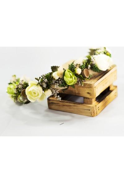 Eva Flore Beyaz Kır Çiçekli Gelin Tacı