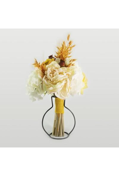Eva Flore Beyaz Sarı Gelin Buketi