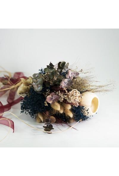 Eva Flore Mavi Bordo Kır Çiçek Buketi