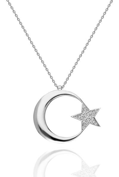 Chewel Chwllgmskly0367 Gümüş Ay Yıldız Kolye