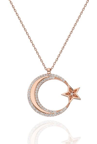 Chewel Chwllgmskly0369 Gümüş Ay Yıldız Kolye