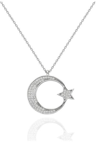 Chewel Chwllgmskly0375 Gümüş Ay Yıldız Kolye