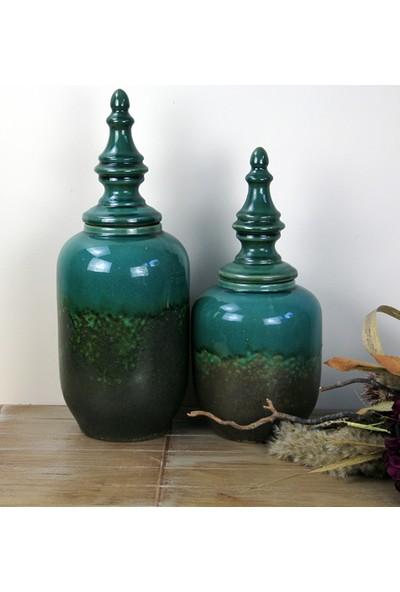 Ancel Eskitme Desenli Yeşil Renkli Dekoratif Kapaklı Seramik Obje 18 x 46,5 cm