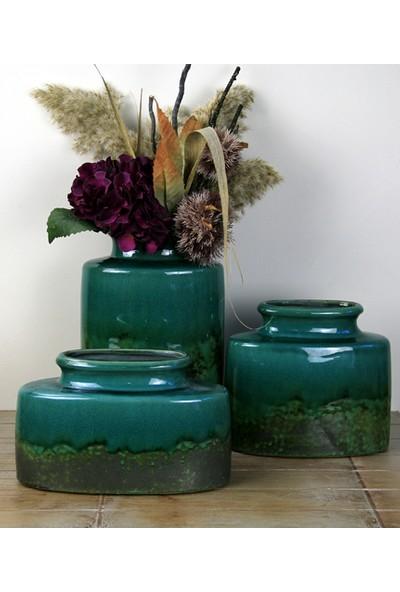 Ancel Eskitme Desenli Yeşil Renkli Dekoratif Seramik Gondol 24 x 12 x 20 cm