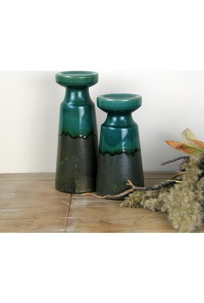 Ancel Eskitme Desenli Yeşil Renkli Dekoratif Seramik Şamdan 11,5 x 28 cm