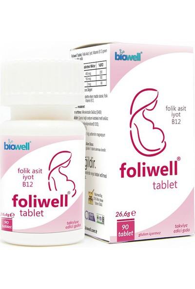 Foliwell 90 Tablet Folik Asit İyot Vitamin B12