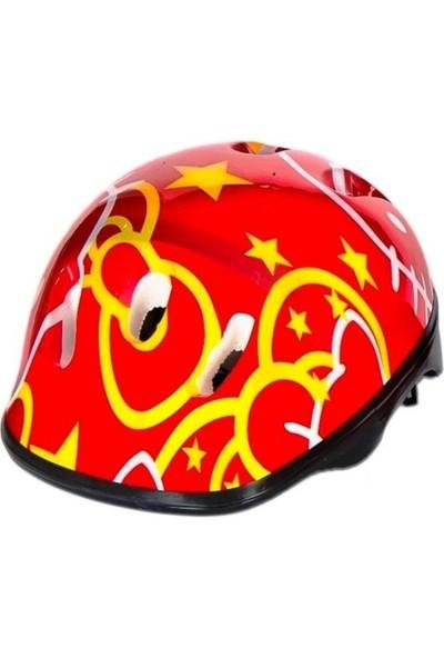 Scooter Bisiklet Kaykay Paten Kask Dizlik Dirseklik Koruma Seti Kırmızı Yıldızlı