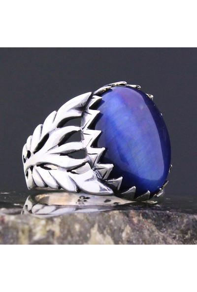 Gümüşçü Sarmaşık Model Mavi Kaplan Gözü Taşlı Gümüş Erkek Yüzük