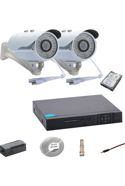 Promise 2 Kameralı Set Ahd 1080P Big Led Harddisk Dahil