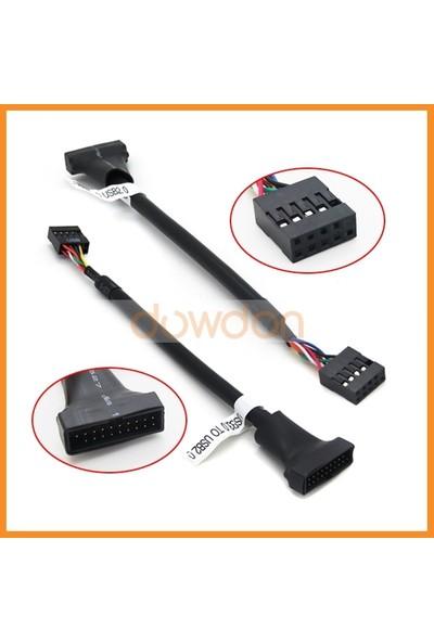Kuvars 19 Pin USB 3.0 Erkek 9 Pin USB 2.0 Dişi Dönüştürücü Çevirici Kablo