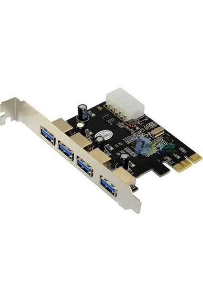 Kuvars PCI Express 4 Port USB 3.0 Kart Usb Çoklayıcı Çoğaltıcı Çevirici Dönüştürücü