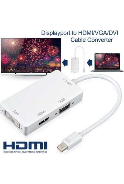 Kuvars Mini Displayport To HDMI DVI VGA Çevirici Dönüştürücü