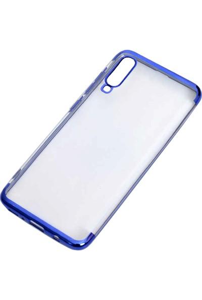 Case 4U Samsung Galaxy A70 Kılıf 4 Köşeli Renkli Lazer Silikon Arka Kapak Glitter Mavi