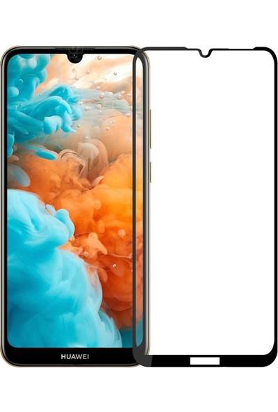 Case 4U Huawei Y6 2019 5D Kavisli Temperli Cam Ekran Koruyucu Film Siyah