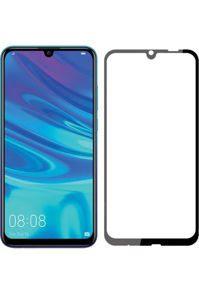 Case 4U Huawei P Smart 2019 5D Kavisli Temperli Cam Ekran Koruyucu Film Siyah