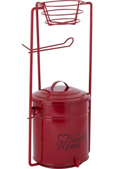 Nilşah Galvaniz Kapaklı Çöp Kovalı Wc Kağıtlığı Kırmızı