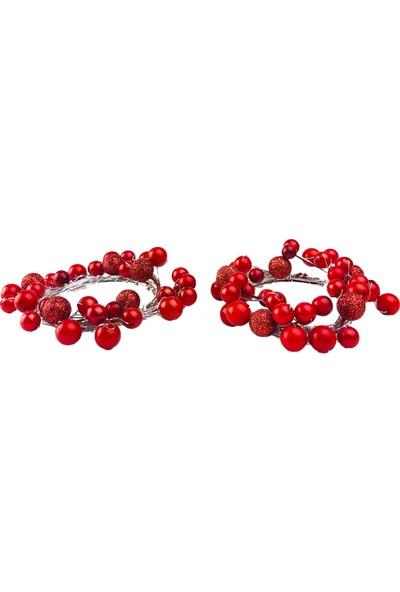 Alesta Home 2'li Kırmızı Peçetelik Peçete Yüzüğü 9cm