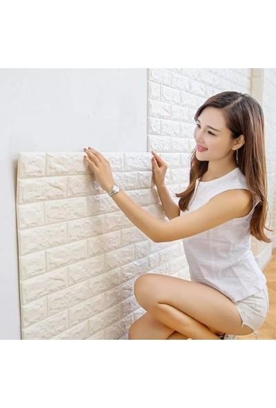 Renkli Duvarlar Kendinden Yapışkanlı Sünger Beyaz Tuğla Duvar Paneli 70x77 cm 6 Adet