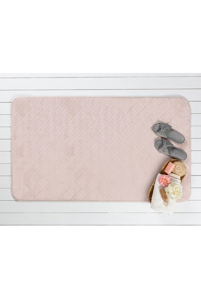 Madame Coco Flannel Baby Touch Banyo Paspası - Pudra