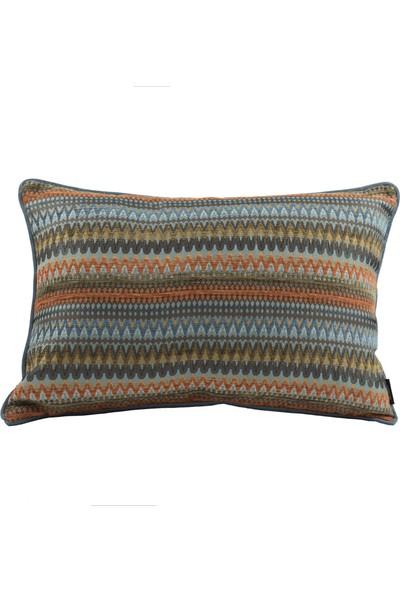 McAlister Textiles Curitiba Yastık Kılıfı Dekoratif Kırlent Geometrik Desen Turuncu Mavi 49cmx49cm