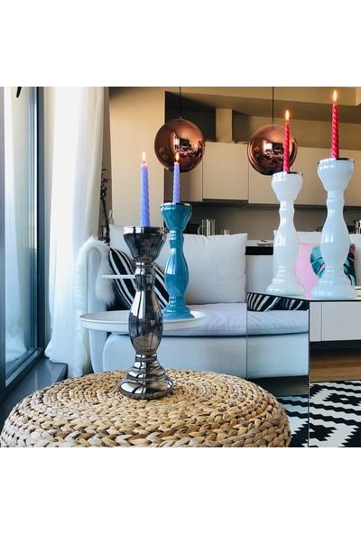 Alesta Home Dekoratif Beyaz Ve Mavi Cam Şamdan Mumluk 12x37cm