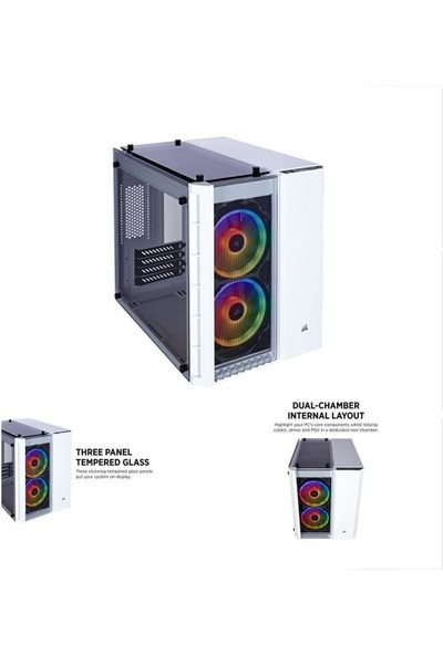 Corsair CC-9011137-WW 280X RGB mATX Temperli Cam Bilgisayar Kasası Beyaz