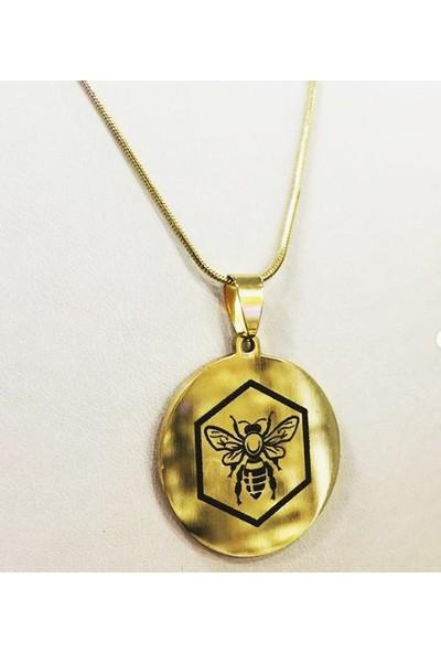 Depo Dolusu Arı Kolye Bayan Erkek Gold Madalyon
