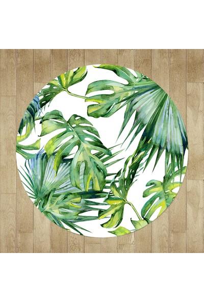 Evpanya Yeşil Amazon Yapraklı Yuvarlak Halı