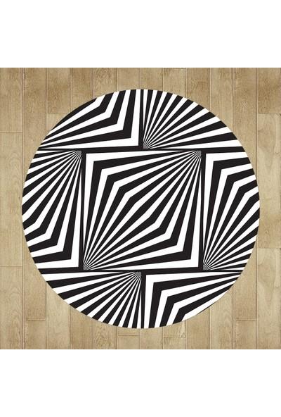 Evpanya Geometrik Zebra Desenli Yuvarlak Halı