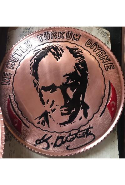 Gaziantep Bakır Atatürk Portresi Kabartma Duvar Tabakları