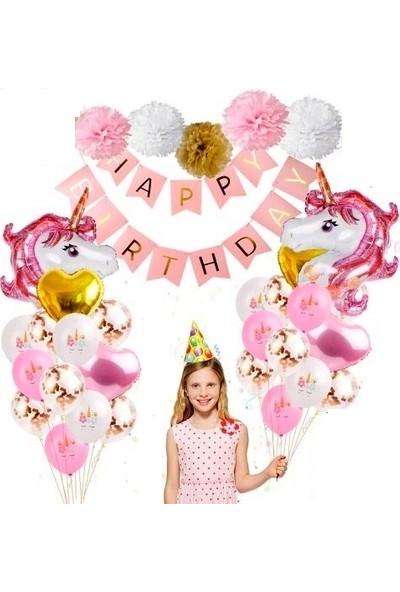Happy Land Unicorn Balon Seti 27 Parça Doğum Günü Özel Set