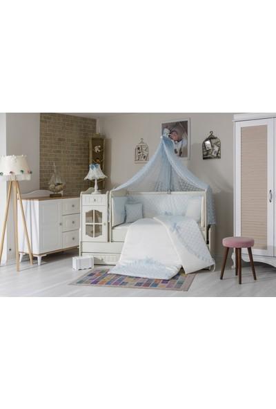 Mini Baby Daisy Mavi Bebek Uyku Seti 10 Parça Cibinlik ve Aksesuarı Dahil 73 x 130 cm