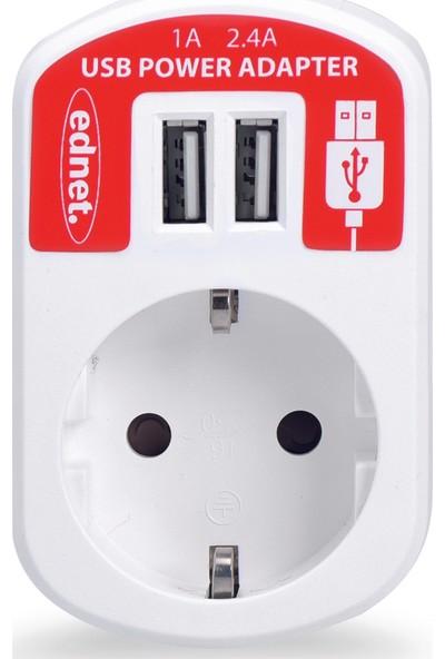 Ed-31804 Ednet Usb Power Adapter Tek Priz Çift Usb
