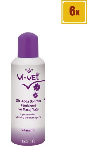 Vi-Vet Sir Ağda Sonrası Temizleme Ve Masaj Yağı E Vitamin 125 ml 6'lı Set