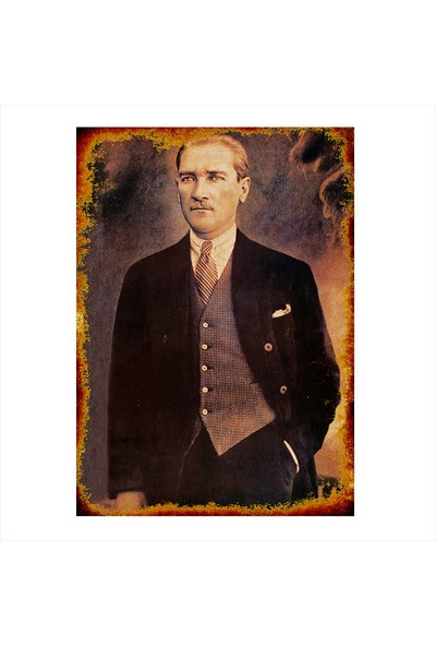 Tablomega Ahşap Tablo Eskitilmiş Tablo Mustafa Kemal Atatürk