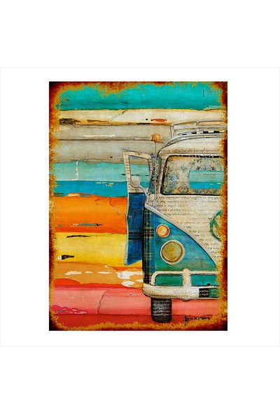 Tablomega Ahşap Tablo Nostaljik Volkswagen Minibüs