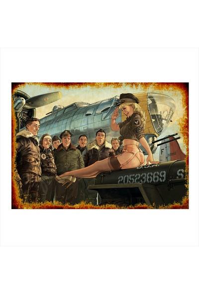 Tablomega Ahşap Tablo Kadın Ve Askerler