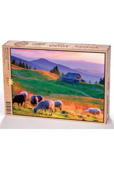 King Of Puzzle Günbatımı ve Koyunlar Ahşap Puzzle 1000 Parça (HV11-M)