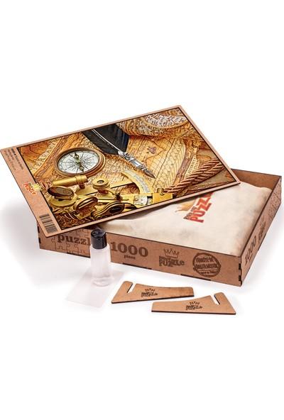 King Of Puzzle Pusula ve Harita Ahşap Puzzle 1000 Parça (HR05-M)
