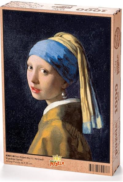 King Of Puzzle İnci Küpeli Kız - Johannes Vermeer Ahşap Puzzle 1000 Parça (KR01-M)