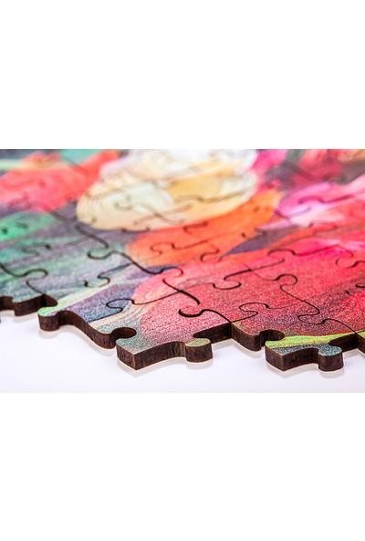 King Of Puzzle Çiçekli Kalp Ahşap Puzzle 1000 Parça (AS01-M)