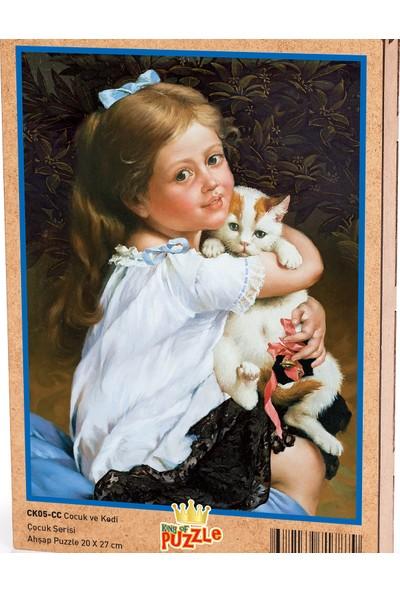 King Of Puzzle Çocuk ve Kedi Ahşap Puzzle 204 Parça (CK05-CC)