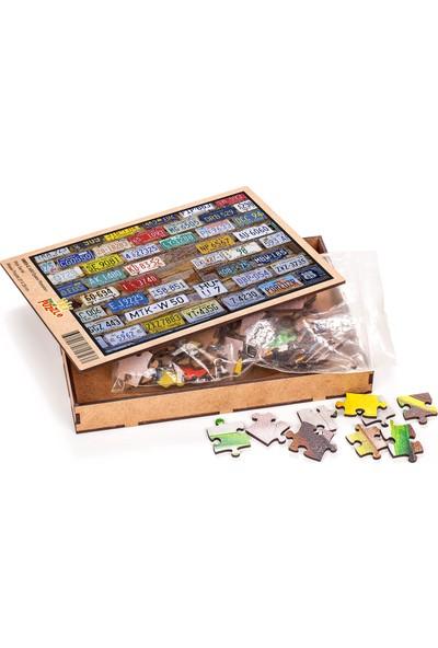 King Of Puzzle ABD Eyalet Plakaları Ahşap Puzzle 108 Parça (OB03-C)