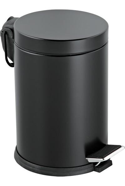 Foreca Renkli Paslanmaz Pedallı Çöp Kovası Siyah 12 Lt