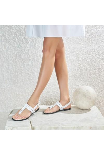 Butigo Zerda01Z Beyaz Kadın Sandalet