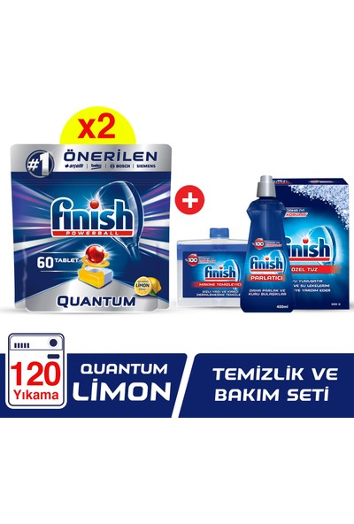 Finish Quantum 120 Tablet Bulaşık Makinesi Deterjanı Limon (60x2) + Finish Temizlik Ve Bakım Seti